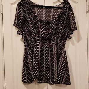 Torrid 2X sheer black polka dot blouse